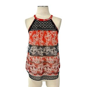 Anthropologie- Meadow Rue Annora Red Black Top XS